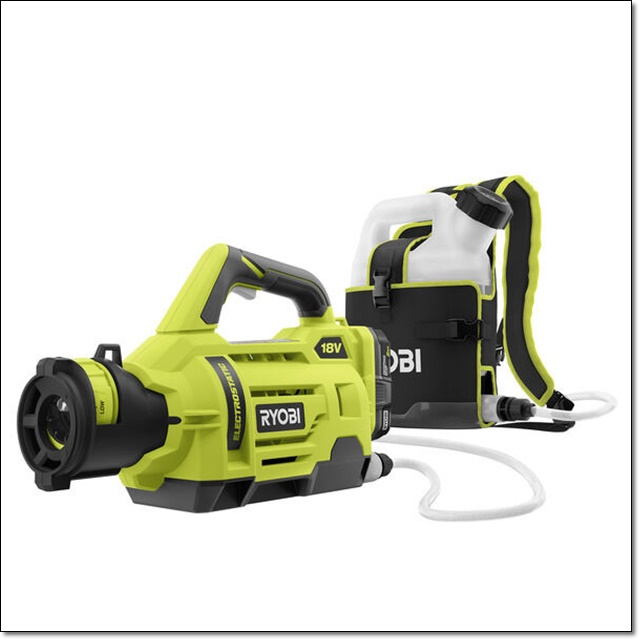 Ryobi Cordless 1 Gallon Electrostatic Sprayer Ryobi Cordless 1 Gallon Electrostatic Sprayer, electrostatic sprayer, sanitation sprayer, sanitation spray, electrostatic, disinfectant sprayer